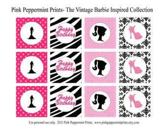 New INSTANT DOWNLOAD The Vintage Barbie Inspired Party Collection PRINTABLE Party Circles