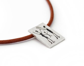 CAPIVARA sterling silver oxidized brushed necklace rock art prehistoric cave painting leather