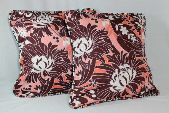 Brown Floral Throw Pillow : Items similar to Coral and Brown Floral Throw Pillow Cover on Etsy