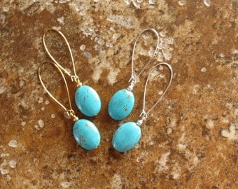 Turquoise Oval Earrings - Gold and Turquoise Earrings  - Turquoise Dangle Earrings Statement Earrings - Turquoise Oval Earrings