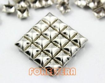 100Pcs 8mm Silver Dome Pyramid Studs Metal Studs (SMP08)