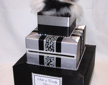 Silver and Black Wedding Card Box-rhinestones- feather topper