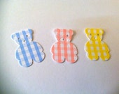 50 YOU CHOOSE  Blue, Pink,  or Yellow Gingham Teddy Bear hand punched die cuts, confetti, paper punches  banners, invitations,