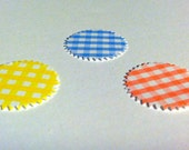 100 BABY PINK, Blue and Yellow Plaid SCALLOPED Circles 1 inch Birthday party ,scrapbooking, cards
