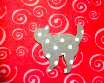 50 Hand Punched GREY CAT with Polka Dots Die cuts  1 inch for Confetti, Birthday party decorations,Invitations,scrapbooking,