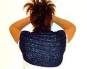 Women Shrug Hand Knit DARK BLUE Sleeveless bolero.