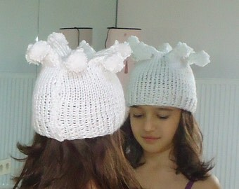 clown hat, clown costume, halloween hat, toddler hat, clown Baby funny Hat, Child Sizes, Hand knitted children hat, White hat, Pompom Hat.