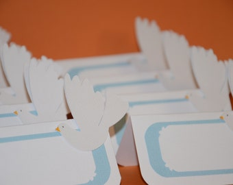Dove, Tent Place Card, Food Label, Dessert Labels, Baptism Place card, Boy Baptism