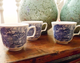 Three Vintage Blue and White Transferware Teacups with Country Cottage Pattern Made in England