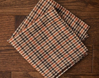 Tan & Brown Wool Guncheck Pocket Square