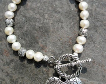 "Pearl Toggle bracelet with filigree heart charm 7 1/2"" beaded pearl bracelet Wedding jewelry Gift for Her"