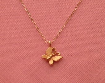 Tiny Butterfly Gold Necklace -Gold Butterfly Necklace -Delicate Butterfly Necklace