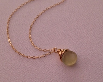 Prehnite Necklace in Gold -Beautiful Green Gem Necklace in Gold