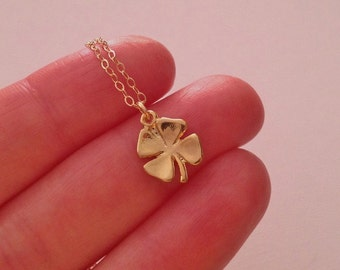 Clover Necklace in Gold -Lovely Graduation Gift -Lucky Four Leaf Clover Necklace