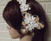 Unique Leopard and Lace Wedding Head Band, Bridal Hairpiece Wedding Headpiece OOAK - Weddingzilla