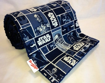 Dark, Blue, Star Wars, Dot Minky, Blanket