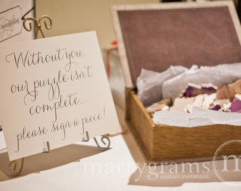 Alternative Guest Book Puzzle Sign - Wedding Reception Seating Signage - Matching Numbers Available - Wedding Seating Sign SS01