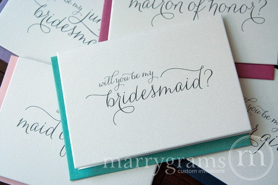 Will You Be My Bridesmaid, Maid of Honor, Wedding Bridal Party Proposal Cards, Matron of Honor Card, Cute Flower Girl Card (Set of 6) CS01