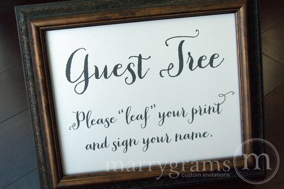 Alternative Leaf Your Print Guest Book Table Sign