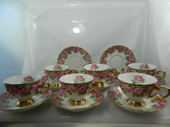 Vintage Royal Sealy China Cups And Saucers Roses Set Of 6 And