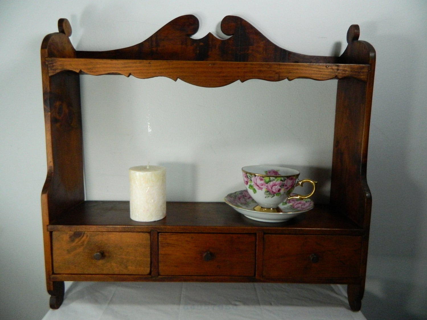 Vintage Wood Wall Shelf With Drawers 2 Shelf 3 Drawer Wooden