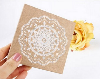 Wooden Rubber Stamp - White Lace 03 - L Size - 1 pcs