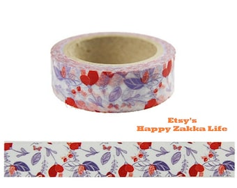 Red Flower and Purple Leaf - Japanese Washi Masking Tape - 11 Yards