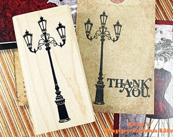 Wooden Rubber Stamp - Lamppost - 1 Pcs