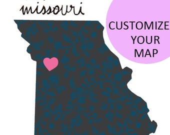 Missouri Map Illustration size A4 (11,8x8,3 inches)