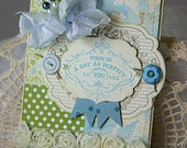 Shabby Chic Wishing You a Perfect Day Blue Green handmade card