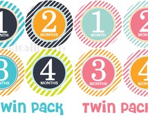 Monthly Baby Stickers Twin Month Stickers Milestone Stickers Monthly Photo Stickers Bodysuit Stickers (Kaleb and Kaylan)