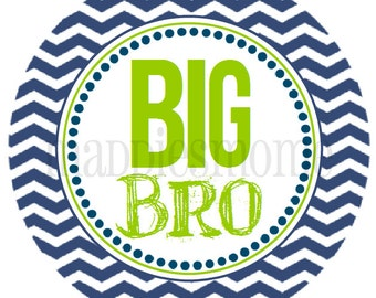 INSTANT DOWNLOAD - DIY Printable pdf- Big Bro - Navy Blue and Green Chevron T shirt Iron on