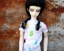 BJD Clothes White Robot Bear T Shirt For 60cm SD Boy