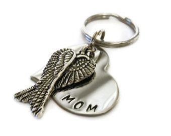 Personalized Memorial Keychain, Hand Stamped Key chain for Women or Men with angel wings, sympathy gift, memorial keychain