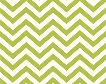 Organic Green Chevron Fabric - Birch Mod Basics 1 Yard