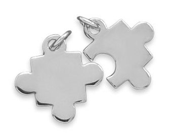 Sterling Silver Puzzle Pieces Set of Two Personalized Custom Engraved Petite Charms- Hand Engraved