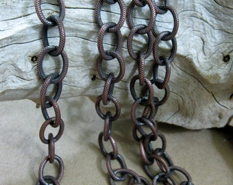 "Copper Chain Textured Oval Cable OXIDIZED, Bulk Chain 6"" to 36"""