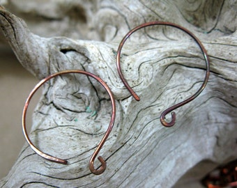 Copper Earwires, Handcrafted Full Moon, 2 Pairs, Artisan Earwires, Handmade Components