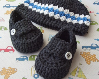Baby Loafers, Crochet Baby Hat, Baby Beanie, Crochet Booties, Crochet Baby Shoes, Infant Hat, 3 to 6 Months Size Baby Set