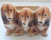 Vintage ceramic Bassett Hound dog planter pencil holder storage container