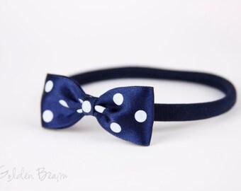 Navy Baby Headband Polka Dot Bows - Navy Polka Dot Bow Handmade Headband - Baby to Adult Headband