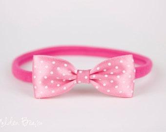 Pink Micro Polka Dot Bow Handmade Headband - Infant to Adult Headband