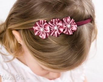 Dusky Rose Flower Girl Headband - 3 Dusky Rose and Pearl Flowers Handmade Headband - Infant to Adult Headband