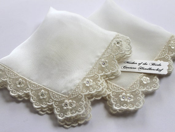 Mother of the bride gift set Wedding handkerchief Bride Handkerchief Ivory Silk handkerchief Lace handkerchief Wedding hanky Bridal Hankie