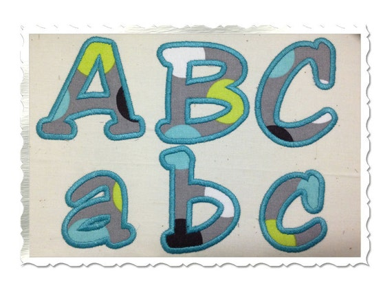 Jester applique machine embroidery font alphabet sizes