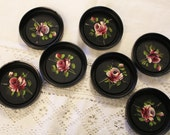 RESERVED for binky931 Charming Cottage Style Set of Seven Vintage Tole Roses Coasters