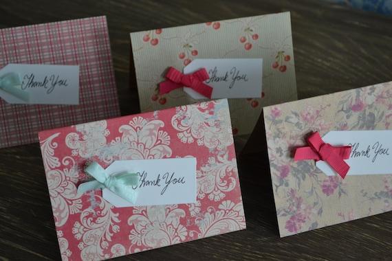 Caroline - Shabby Retro Floral Thank You Notecards Set of 4