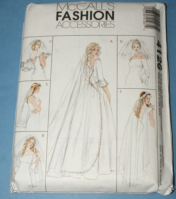 Wedding Veils And Headpieces Patterns: New McCalls Accessories Wedding Veils Pattern M4126 All Sizes