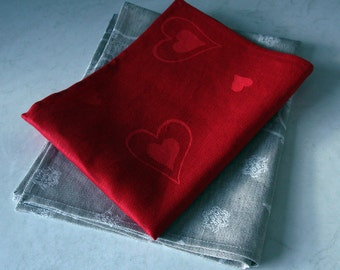 Linen-cotton tea towels kitchen towels interior decor red and natural linen colour gift