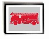 Children's Firetruck Art Print  - Custom colors, Custom Name, Nursery Wall Decor, Kids room art